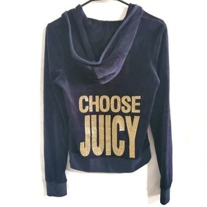 Juicy Couture Choose Juicy Velour Glitter Hoodie